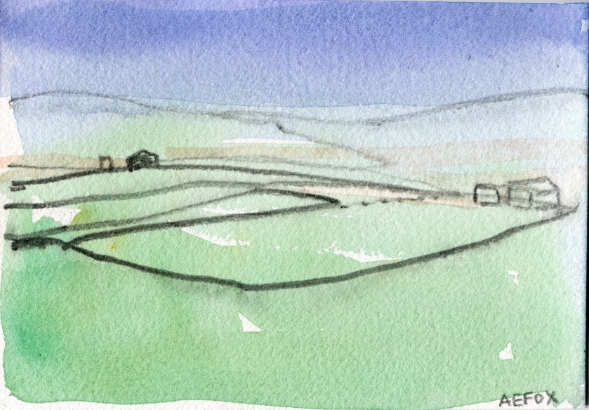 Yorkshire Fields Watercolour Painting