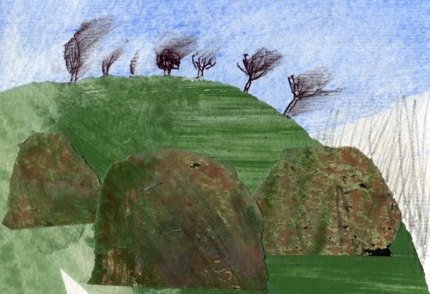 Hawthorn Bushes in the Wind; Original Art Collage Painting by ElizabethAFox
