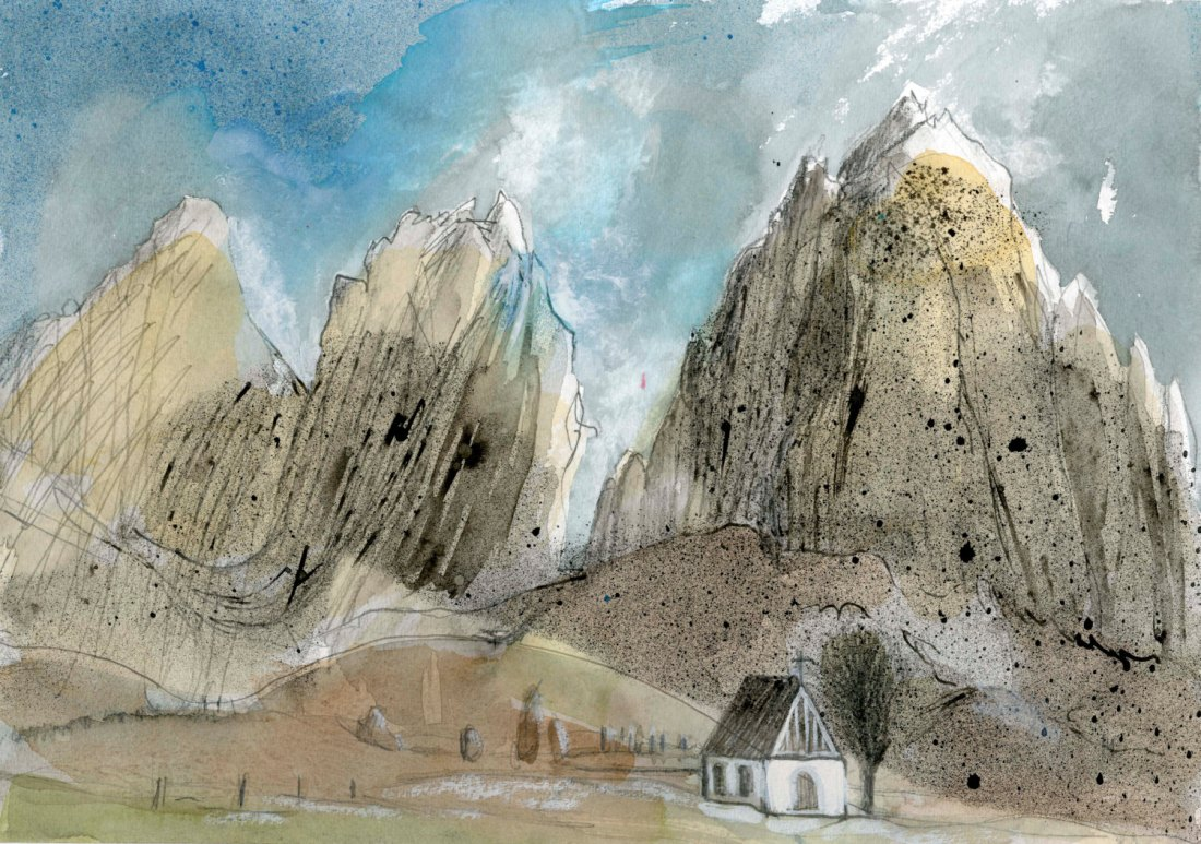 At the SELLA PASS - Dolomites - Watercolour Original - Fine Art - Mountain Scenery - Landscape Painting -ElizabethA Fox