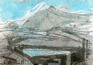 BORDER END Hard Knott, Watercolour by ElizabethAFox