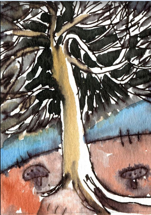 Dark Pine Watercolour ACEO