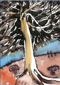 Dark Pine ACEO by Elizabetha Fox