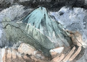 Steeple Mountain, Watercolour and Wax